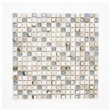 Mozaika Quadrat Crystal/Stein Mix Hellgrau/Silber