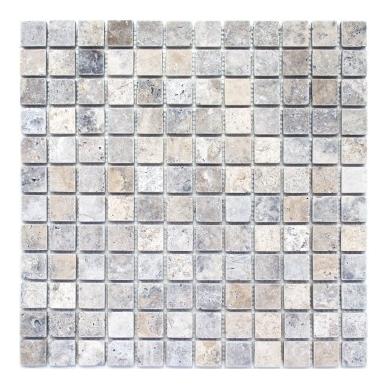 Mozaika Travertine Silver Antique 23x23